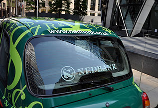 Green car with Nedbank branding