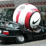 Giant Nike soccer ball on BMW car