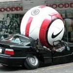 Giant Nike soccer ball on BMW car